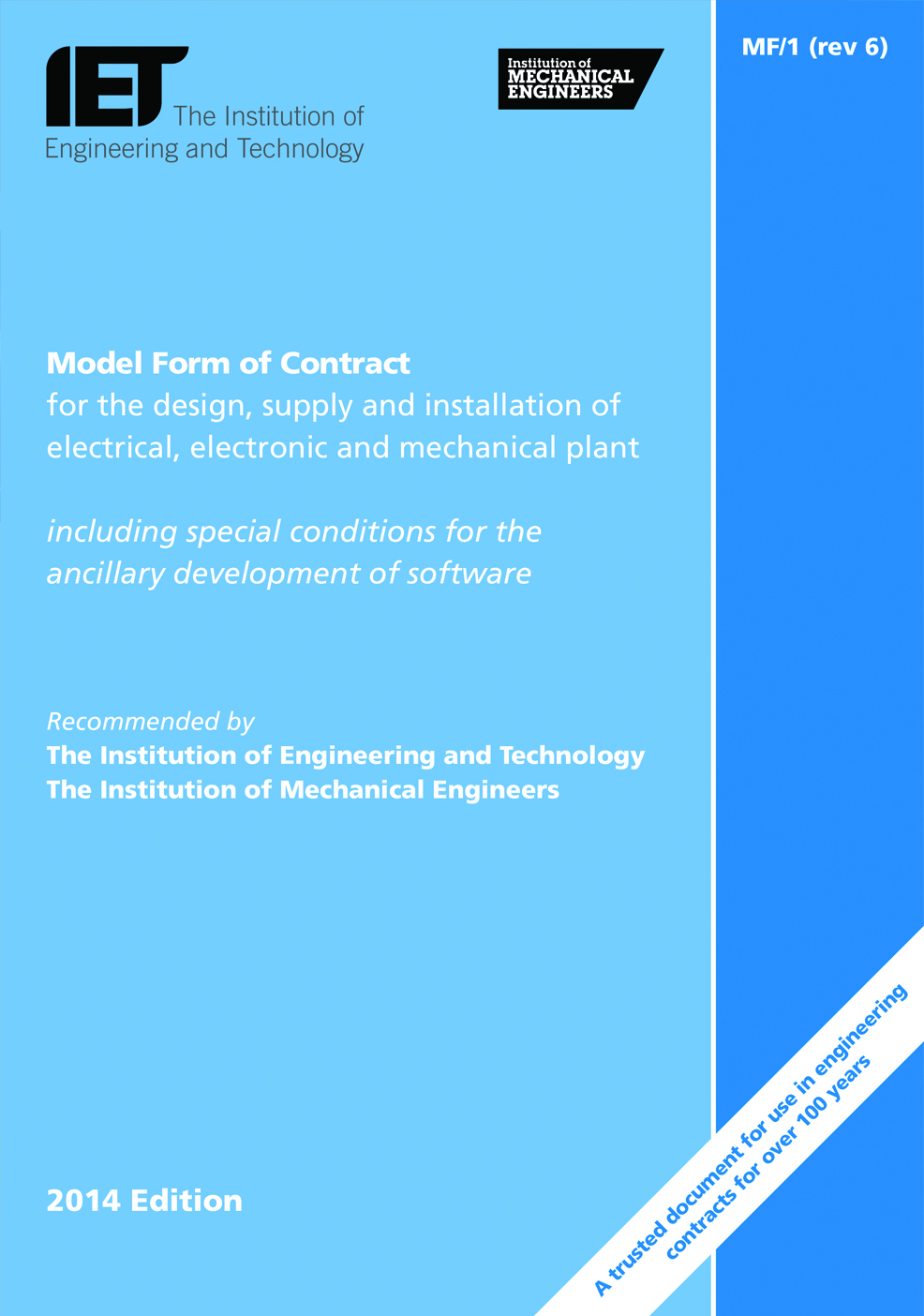 The Iet Shop Model Form Of Contract Mf 1 Revision 6