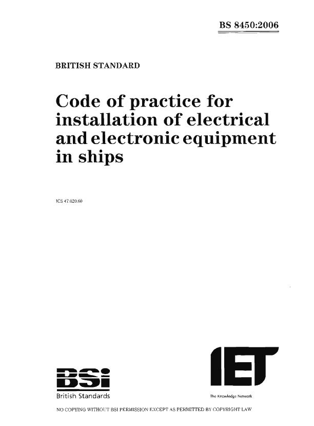 BS8450 Regulations for Electrical & Electronic Equipement of Ships  Loose Leaf  68 pp  publ Aug 2006